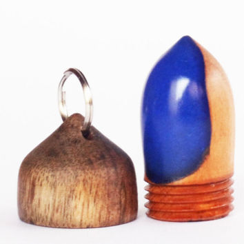 Wooden acorn box, Acorn Pendant Box,Bag Charm,Pill Fob,Keychain-SCREW CAP