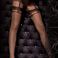 307 Tights Nero (Black)/Skin by Ballerina Hosiery