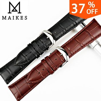 MAIKES Watch Accessories 18 20 22 24mm Genuine Leather Watch Band Black Strap Watch Bracelet For Seiko Watchbands