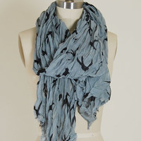 Crinkle Bird Scarf in Blue : Spotted Moth