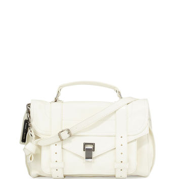 PS1 Medium Leather Satchel Bag, White - Proenza Schouler