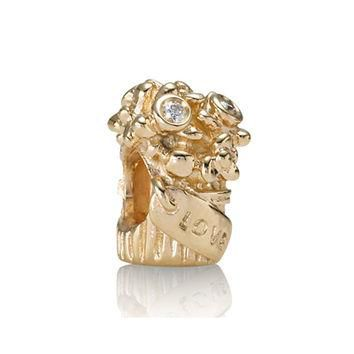 PANDORA Gold Love Bouquet Diamond Charm