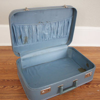 Vintage Blue Suitcase // 1960s Mid Century Retro by adVintagous