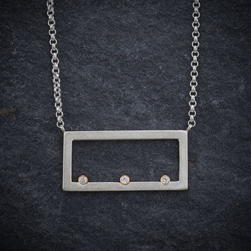 Give.Love Pendant Necklace - Rectangle with .09 cttw Diamonds