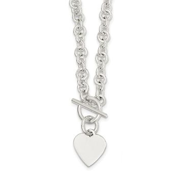 Sterling Silver 18 Inch Engraveable Heart Disc on Fancy Link Toggle Necklace