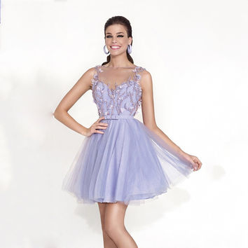 Tarik Ediz Spring Lavender Jewel Beaded Bodice Flower Sheer Back Mini Length Cocktail Dresses