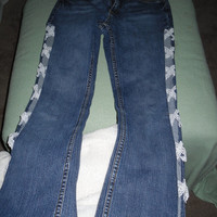 upcycled eco friendly recycled sexy cutout lace jeans sz 5 juniors stretch laces side cutouts