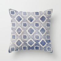 Worn & Faded Navy Denim Moroccan Pattern in grey blue & white Throw Pillow by micklyn