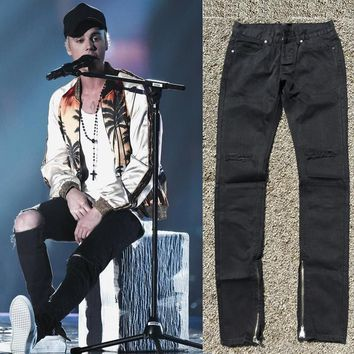 2017ankle zipper design biker jeans new style men pants black destroyed denim biker mens slim skinny jeans ripped male trousers