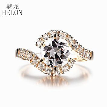HELON Round Cut 8mm 2.6ct 100% Genuine White Topaz Engagement Wedding Ring Setting Solid 10k Yellow Gold Gemstone Fine Jewelry