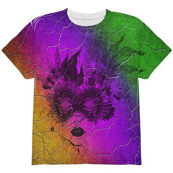 Mardi Gras Party Mask Distressed Grunge Flag All Over Youth T Shirt