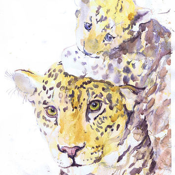 Jaguar - Panther- Leopard - mother and baby- watercolor - painting - illustration - baby jaguar - nursery - art print - safari – wildcats