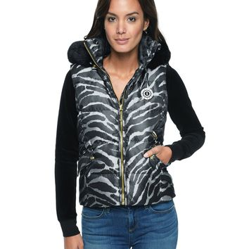 Silver/Pitch Black Ziger Abstract Jacquard Puffer Vest by Juicy Couture,