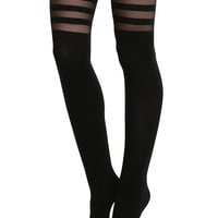 Black Stripes Faux Thigh High Tights