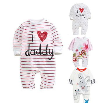 Baby Rompers 2018 Newborn I Love Mummy & Daddy Baby Costume Girls Boy Jumpsuit Clothing Spring Romper Body Baby Clothes Bebes
