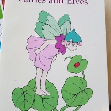 garden fairies and elves flowers coloring book fantasy fairy tale art 1998