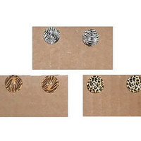 Animal Print Stud Cabochon Earrings in Giraffe, Zebra, Tiger or Cheetah Print You Choose One