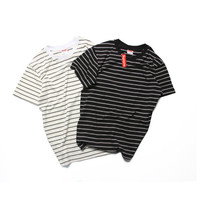 Fashion Hip-hop Stripes Couple Short Sleeve T-shirts [6541157763]