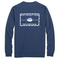 Long Sleeve Heathered Original Skipjack Tee in Skipper Blue by Southern Tide
