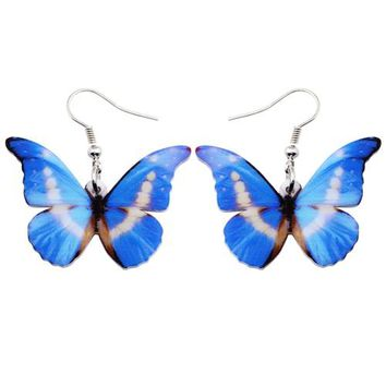 Acrylic Pattern Drop Dangle Big Morpho Helena Butterfly Earrings For Women New Fashion Accessories Insect Jewelry