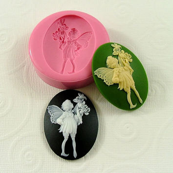Victorian Garden Fairy Flexible Silicone Mold/Mould (mm) for Crafts, Jewelry, Scrapbooking, (wax, soap, resin, pmc, polymer clay) (247)