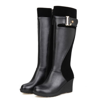 Plus Size 34-43 Fashion Tall Wedge Boots Black Flat Heel Botas De Invierno Solid Side Zipper Motorcycle Boots For Woman