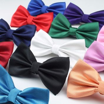 Classical Solid Fashion Bowties Groom Men Colourful Plaid Cravat Grid Male Marriage Butterfly Wedding Bow Ties