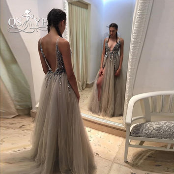 Sexy Side Split Prom Dresses 2017 Deep V Neck Backless Bead Crystal Party Gowns Sleeveless Sweep Train Cheap Tulle Evening Dress