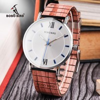 BOBO BIRD Watch: Men's Watch with Wooden Wristband and Stainless Steel Case
