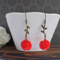 Rouge Red Garden Rose Branch Leaves Earrings. Country Shabby Chic Flower Dangled Drop Ear Jewelry. Bridal Wedding Gift. For Her