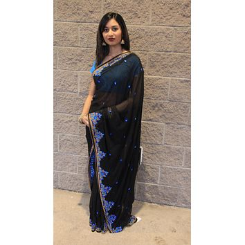 Georgette Saree with Bead and silk Embroidery- Black