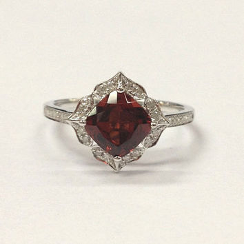Garnet Engagement Ring 14K White Gold!Diamond Wedding Bridal Ring,7mm Cushion Cut VS Natural Red Gemstone,Retro Vintage Floral,Design Band