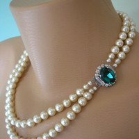 Emerald Necklace, Pearl Choker, Emerald and Pearl, Great Gatsby, Bridal Pearls, Art Deco, Wedding Jewelry, Pearl Necklace, Sigma Pearls