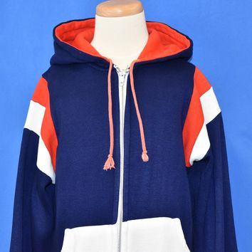 80s Red White Blue Hooded Track Jacket Youth Large