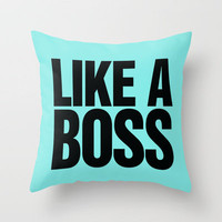 Like a Boss Pastel Baby Blue Throw Pillow by Rex Lambo | Society6