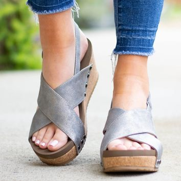 New York Cork Pewter Distressed Wedge