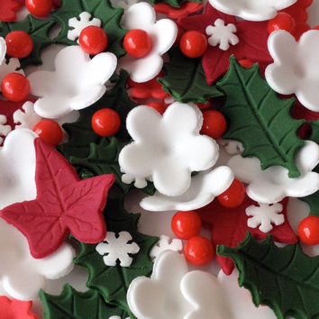 CHRISTMAS CAKE TOPPERS edible sugar decorations