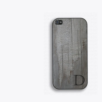 Old Barnwood Single Initial Phone Case, for iPhone 5, iPhone 5s, iPhone 5c, iPhone 4, iPhone 4s, Galaxy S3 S4 S5. Distressed wood FCM-153