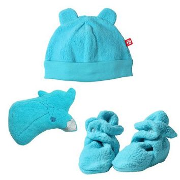 Zutano Unisex-baby Newborn Cozie Hat With Bootie And Plush Toy Set, Pool, 3 Months