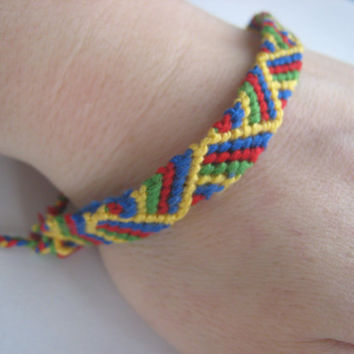 PRIMARY COLORS SAMPLE Friendship Bracelet  Wish by greenyogini
