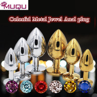 Metal Colorful Gemstone Anal Plug Adult Erotic Toys Bdsm Sex Butt Plug Sex Toysmen for And Women Gay Buttplug Full Body Sex Toys