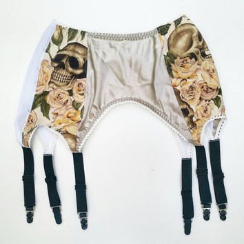 Skulls and Roses High Waisted Garter Belt / Made to order/ Customizable