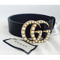 GUCCI Popular Woman Pearl Buckle Belt Leather Belt I