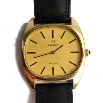 Vintage Swiss Mechanical Mens Wrist Watch Omega de Ville Gold Platted Cal 625 1970s Functional