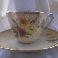 REDUCED: Mitterteich Bavarian blush tea cup and saucer. Art Nouveau. Hand-Painted Antique Duo. Very Downtown Abbey,