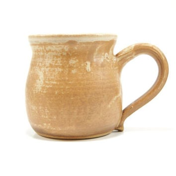 Tan clay coffee mug - pottery coffee cup - stoneware mug - rustic men's mug - comfortable handle mug - pottery mug - wheel thrown mug - ooak