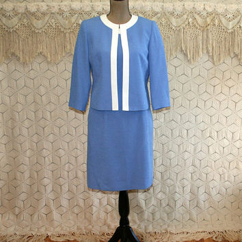 Kasper 2 Piece Suit Dress & Jacket Periwinkle Midi Small Size 4 Dress Blue and White Office Retro Classy Jackie Kennedy Womens Clothing