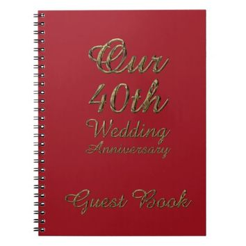 40th Wedding Anniversary Guest Book Gold Ruby