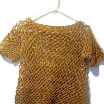 Mesh cotton cover up, mesh crop top, mid riff crochet top