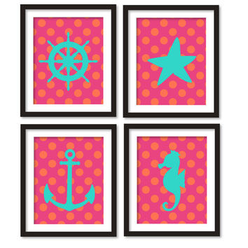 Nautical theme room decor- Sea, Anchor, Seahorse,ship steering wheel,starfish- kids wall art